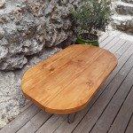 """Table """"gelule""""  en bois massif de 5 cms"""